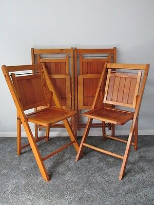 SET OF 4 VERY NICE ANTIQUE WOODEN FOLDING SLATTED CABIN/DECK/BOAT/PORCH CHAIRS d