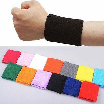 Unisex Sports Cotton Sweatbands Head band Wrist Bands Gym Cycling UK 2PCS
