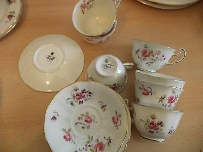 7 Adderley Bone China Cup Bowl & Saucer Rosebud Floral Old Vintage China Tea Set
