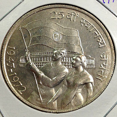 1972 India Silver 10 Rupees 25Th Year Independence Brilliant Uncirculated Coin