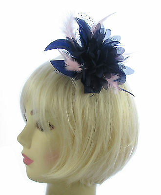 Navy blue and pink star flower comb fascinator for Ascot , Races, Weddings