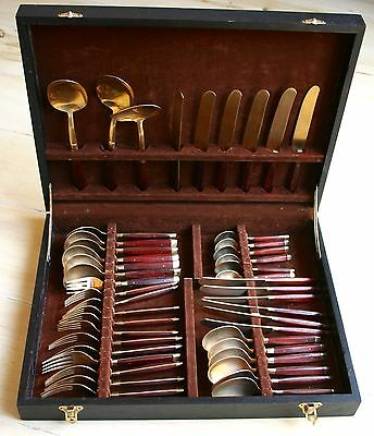 Vintage 45 Piece Nickle Plated Bronze Gold Coloured Thai  Cutlery Set With Case