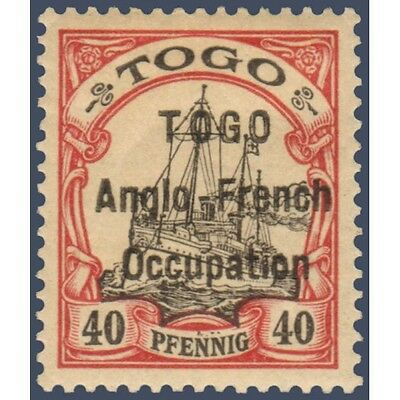 Togo N°38 Timbre Poste Du Togo Allemand Avec Surcharge 1914, Neuf* Signe Brun