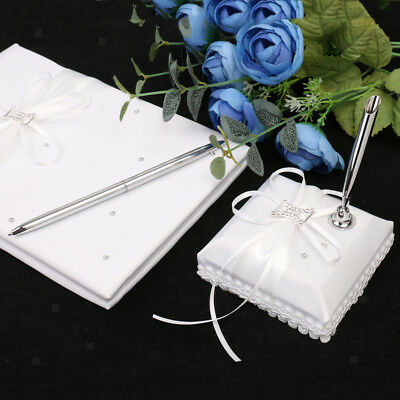 White Wedding Guest Register Comment Book Silver Pen Set Crystal Bow Ribbon