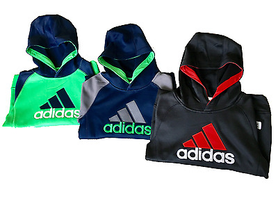 NEW Adidas Boys ClimaWarm Sweatshirt Fleece-lined Pullover Hoodie