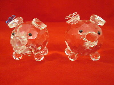 2 Rare Shannon Crystal Faceted Pig Figurines Pink & Blue Ribbons Curly Q Tails