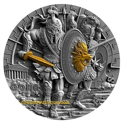 ARES GREEK GODS OF WAR 2 oz Ultra High Relief silver coin antiqued Niue 2017