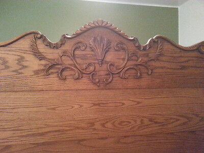 Solid 1800's Antique American Oak fullsize headboard, footboard and side rails