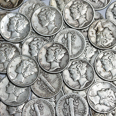 $1 Face Value - 90% Silver U.S. Coins - Mercury Dimes