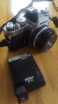 Nikon FM3A 35mm SLR Film Camera With Lens and Flash BUNDLE