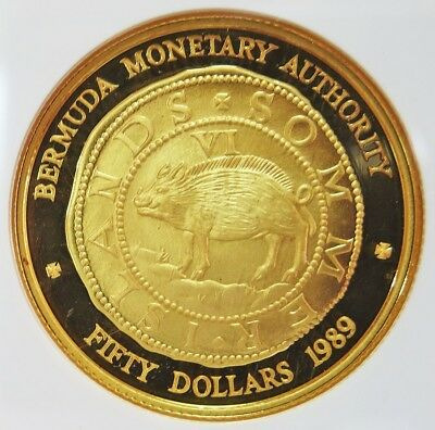 1989 Gold Bermuda $50 Hogge Money Ship Ngc Proof 69 Ultra Cameo Only 500 Minted