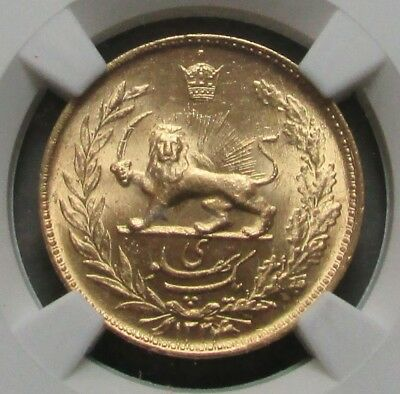 "Sh 1324 ( 1945 ) Gold Iran 1 Pahlavi Coin Ngc Mint State 65 ""lion & Sword"""