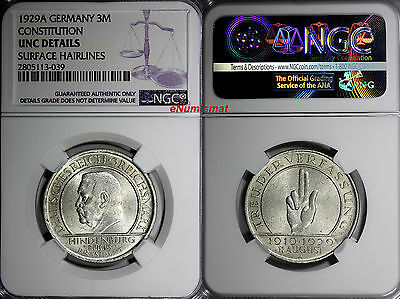 Germany,Weimar Republic 1929A 3 Reichsmark NGC UNC DETAILS Constitution KM# 63