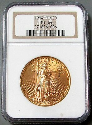 1914 D Gold $20 Saint Gaudens Double Eagle Coin Ngc Mint State 64