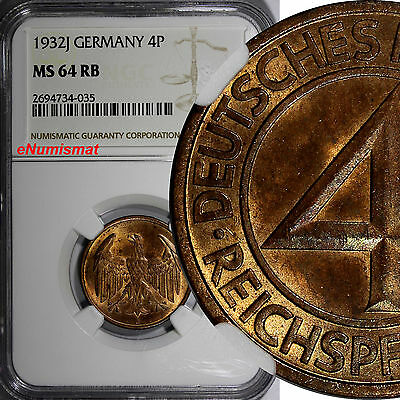 Germany, Weimar Republic 1932 J 4 Reichspfennig NGC MS64 RB TOP GRADED KM# 75