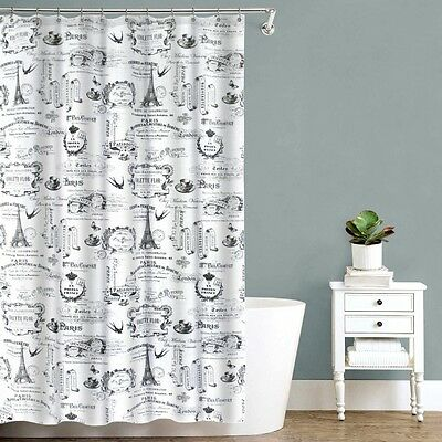 EIFFEL TOWER PARIS Theme FABRIC SHOWER CURTAIN White Black FRENCH Style Script