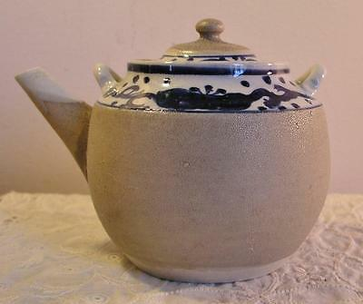 Antique Salt Glazed Blue Teapot Small Japanese Oriental Early Pot Unknown Maker