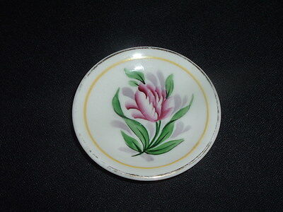 Vintage Hand Painted Butter Pat Lg Tropical Looking Flower Marked