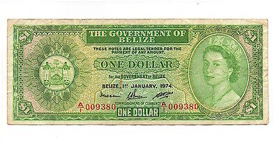 BELIZE 1974 $1 ONE DOLLAR NOTE, P33a