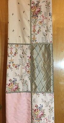 Laura Ashley Vintage Fabric Shower Curtain Patchwork Floral Cottage Shabby Chic