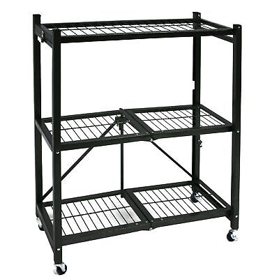 Origami General Purpose Steel Storage Rack with Wheels 3-Shelf Small Gun Metal