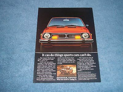 """1977 Honda Civic CVCC Vintage Ad """"It Can Do Things Sports Cars Can't Do."""""""