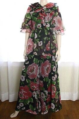 60s 70s Floral Chiffon Ruffled Wrap Top 2 pc PALAZZO Wide Leg Pant Suit Dress