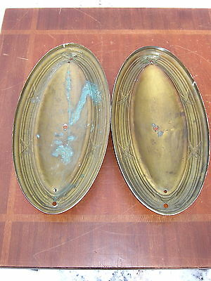 Pair Of  Architectural Salvage Antique Brass Light Sconce Wall Fixtures Trim