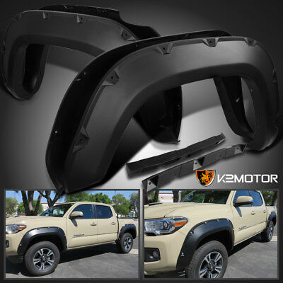 2016-2017 Toyota Tacoma Pocket Style Bolt-On Rivet Fender Flares Smooth Black