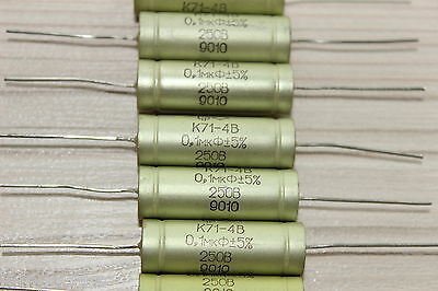 (LOT 10 PCS) Polystyrene AUDIO Capacitor K71-4v 0.1 uF 250V +/-5% USSR