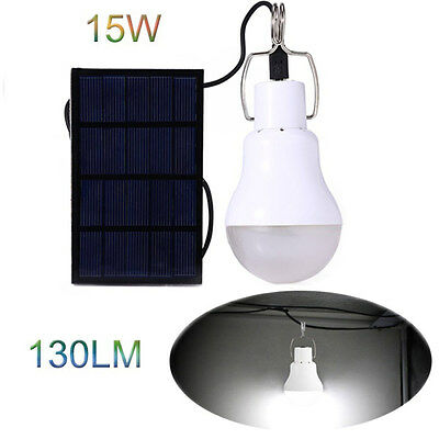 Rechargeable Solar Power 15W Portable Led Bulb Light Lamp for Camping Emergency