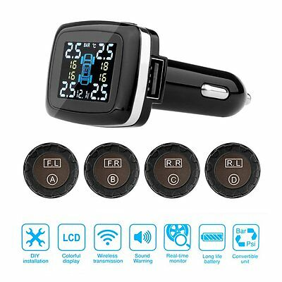 Wireless Car Tire Tyre Pressure Alarm Monitor System TPMS + 4 External Sensors