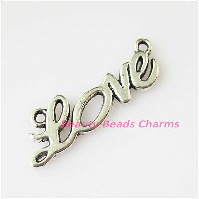 10Pcs Antiqued Silver Tone Love Words Charms Pendants Connectors 8x23.5mm