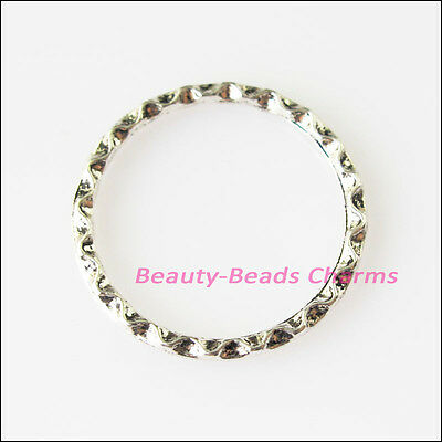 8Pcs Antiqued Silver Tone Round Rings Charms Pendants Connectors 22mm