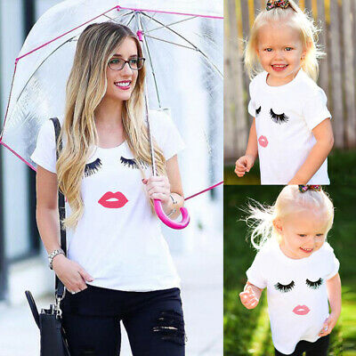 Casual Mother & Daughter T shirt Matching Shirts Family Clothes Tee Tops Blouse