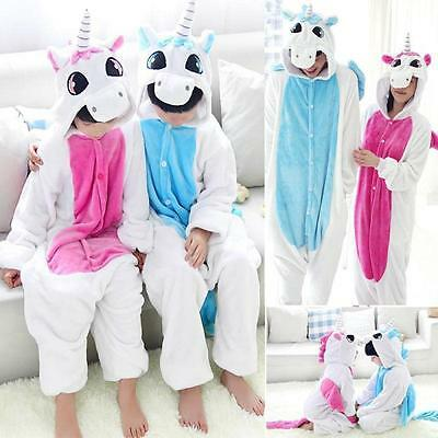Unisex Adult Kid Costume Pajamas Unicorn Animal Cosplay Onesie Sleepwear LG