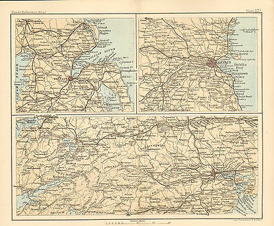 """1890 small map of """" environs of dublin etc  """" by j. bartholomew 1890"""