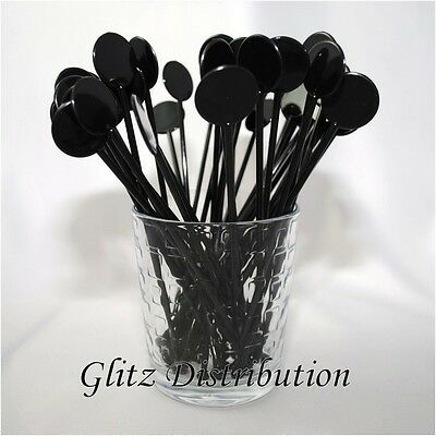 "7"" Black Disc Cocktail Stirrers Swizzle Mixer Sticks Pack Of 25"