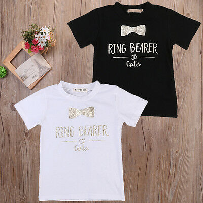 US Toddler Kids Baby Boys Girls Ring Bearer Short Sleeve T-shirt Tops Clothes Y
