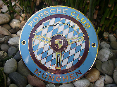 vintage german PORSCHE CLUB MÜNCHEN - MUNICH BAVARIA enamel car grille Badge