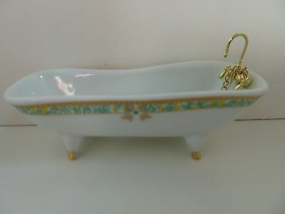 Dolls House Miniature 1:12th Scale Bathroom Furniture White Bath w Green Pattern