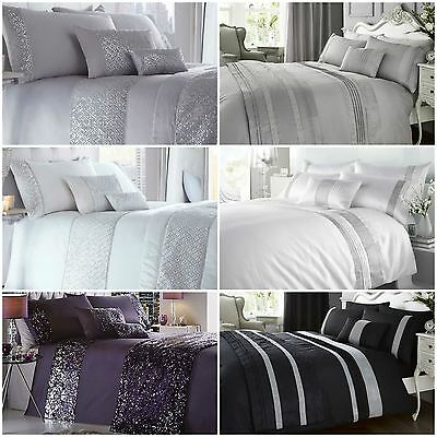 Luxury Diamante Style Duvet Quilt Cover Bedding Bed Sets - 3 x Designs Available