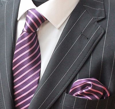 Tie Neck tie with Handkerchief Purple & Pink Stripe