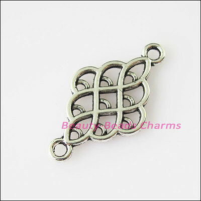 16Pcs Antiqued Silver Tone Oval Chinese Knot Charms Pendants Connector 14x25.5mm