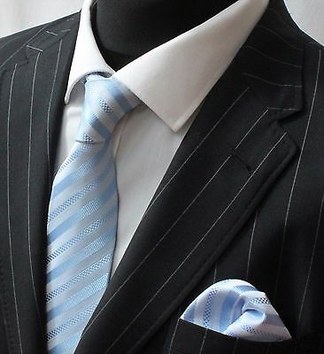Tie Neck tie with Handkerchief Light Blue