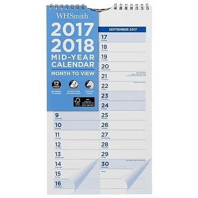 WHSmith 2017-18 Mid Year Slim Wiro Calendar Month To View With Tear Off Pages