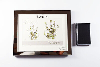 Twins Handprint Ink Boxed Frame Silver Mirror New Baby Mothers Day Shower Gift