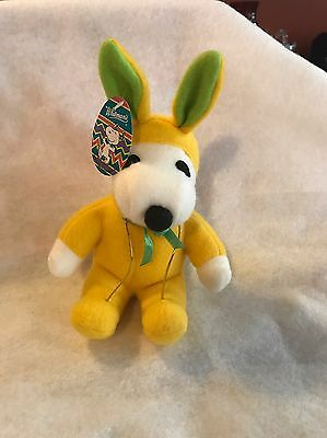 "Whitman's Peanuts Snoopy Plush Stuffed Yellow Easter Bunny 8.5"" Tall"