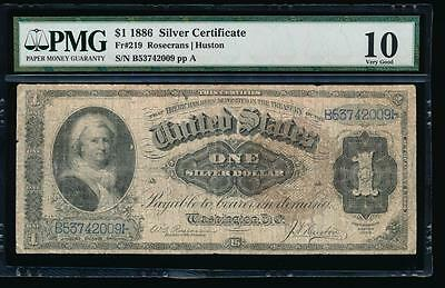 AC Fr 219 1886 $1 Silver Certificate MARTHA PMG 10 large brown seal!