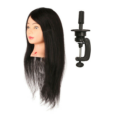 Practice Training Hair Styling Hairdressing Mannequin Doll Makeup Head w/ Clamp